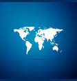 world map icon isolated on blue background vector image vector image