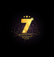 7 number icon design with golden star and glitter vector image vector image