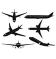airplane silhouettes passenger aircraft in vector image vector image