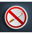 ashtray with cigarette and prohibitory sign vector image vector image