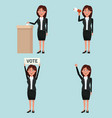 background scene set people female in formal suit vector image vector image