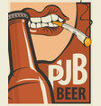 banner with the mouth opening a beer bottle vector image vector image