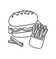 burger and french fries vector image