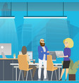 business meeting in modern open space coworking vector image