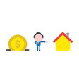 businessman character with dollar coin into vector image