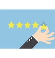Businessman hand giving five star rating Feedback vector image vector image