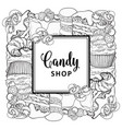 candy shop square banner with baked desserts
