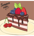 card with piece of chocolate cake with berries vector image