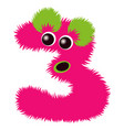 cartoon cute green and pink monster number three vector image vector image