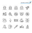 cold and flu prevention line icons vector image vector image