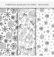 collection of hand drawn seamless christmas vector image