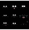 Cute black cat head set Funny cartoon characters vector image