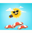 cute sun character with digital camera on a beach vector image
