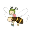 Fairy and the bee on a white background vector image