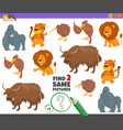 find two same wild animal characters game for kids vector image vector image