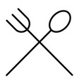 food line icon fork and spoon minimal pictogram vector image