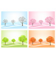 four nature backgrounds with stylized trees vector image