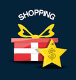 gift with label shopping concept vector image vector image