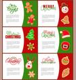 gingerbread man santa claus and pine tree poster vector image
