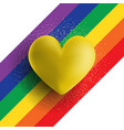 gold 3d heart on a rainbow striped background vector image