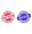 grunge scratched pure water stamp seals vector image vector image