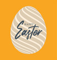 happy easter egg lettering greeting card easter vector image