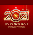 happy new year 2021 greeting card gold alphabet vector image vector image