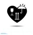 heart black icon love symbol marking of cargo in vector image vector image