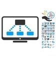 Hierarchy Monitoring Icon With 2017 Year Bonus vector image