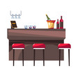 hotel restaurant bar stools champagne and wine vector image vector image