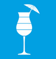 layered cocktail with umbrella icon white vector image