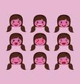 little purple girls emoticon set kawaii characters vector image vector image