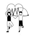 man and woman exercise health vector image