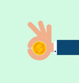 money in businessman hand flat design vector image