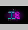 Neon lights alphabet ts t s letter logo icon