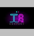 neon lights alphabet ts t s letter logo icon vector image vector image
