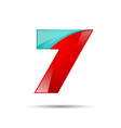 number seven 7 colorful 3d volume icon design