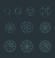 pentagon contour various sacred geometry set vector image vector image