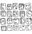 people abstract faces avatars characters black vector image