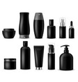realistic cosmetic mockups black cosmetics bottle vector image