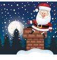 santa sitting on chimney landscape night design vector image vector image