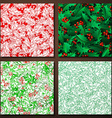Set of Christmas holly seamless patterns vector image vector image