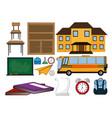 set of school icons vector image