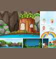 six different scene fantasy world with fairies vector image vector image