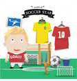 soccer kid character vector image vector image