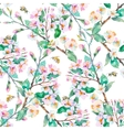 Spring patternFlowering branches and bees vector image