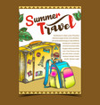 summer travel luggage on advertising banner vector image vector image