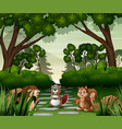 various animals in forest vector image vector image