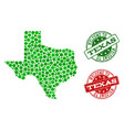 welcome collage of map of texas state and distress vector image