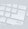 white computer keyboard close up image background vector image